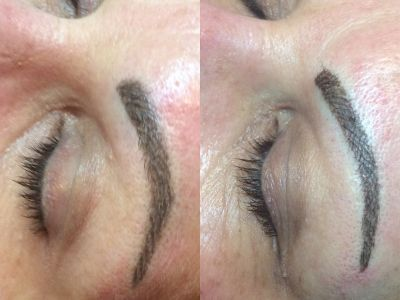 Brows - Left Side after 1st treatment, Right Side after 6 week touch up